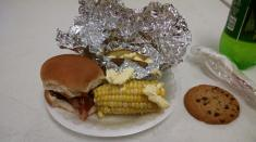 pulled pork, corn on the cob and a baked potato. Yum!