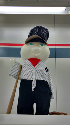 Pillsbury doughboy is ready for baseball!