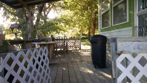 We direct Saturday tidying and such. We got the mess on the deck cleaned up.