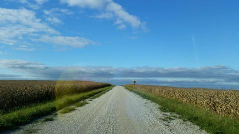 Blue skies and a gravel road