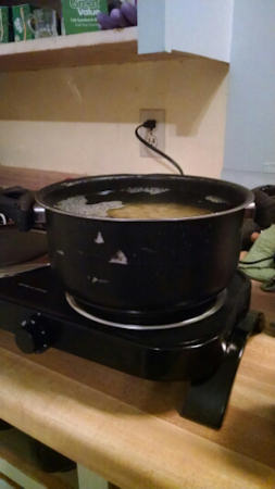 Boiling pasta on the hot plate!