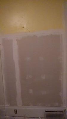 Kitchen wall mudded