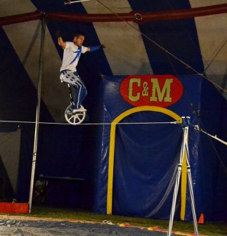 uni-cycling on the tightrope