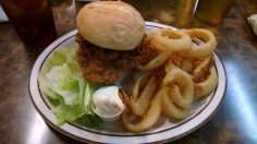Chicken sandwich and onion rings