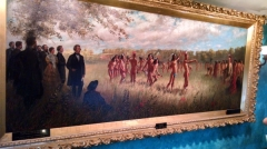 Painting of the Pawnee treaty signing. It was originally too big for the house and so did not hang in it until Mr. Morton was dead and his son built the front addition on.